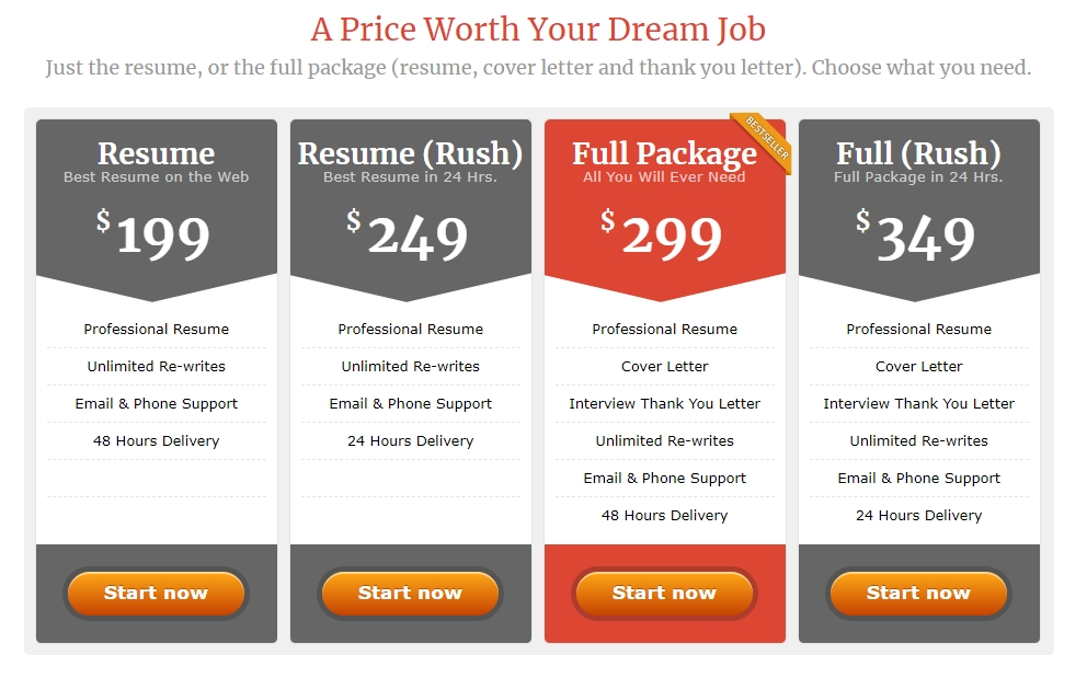 Cv writing service price